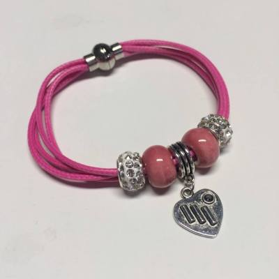 Hot pink and silver bracelet