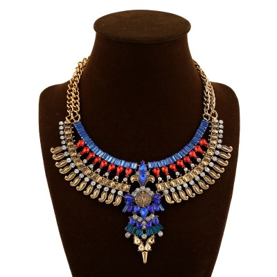 Clarissa chestplate choker in gold and red, blue and clear rhinestones