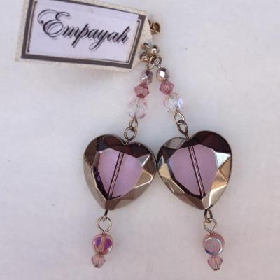 Handmade pink glass heart earrings