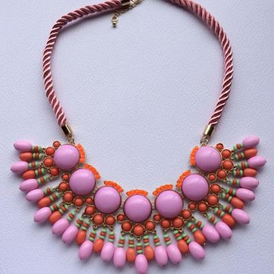 Lolly pink beaded statement necklace