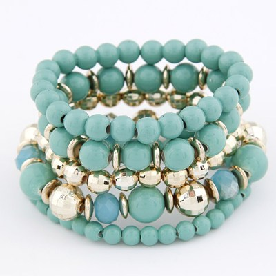 Rosanna set of beaded stretch bracelets in soft mid green