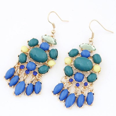 Smooth cabochon gem earrings in blue tones