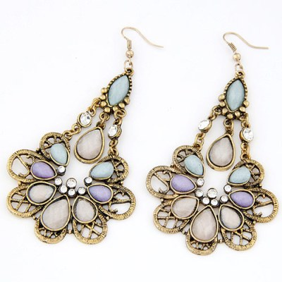Gold pastel gem chandelier earrings