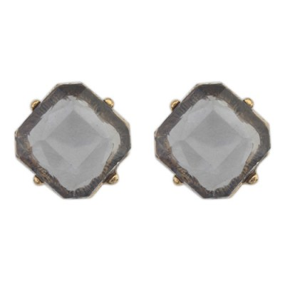 Gem stud earrings smoky grey