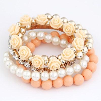 Roses set of bracelets apricot
