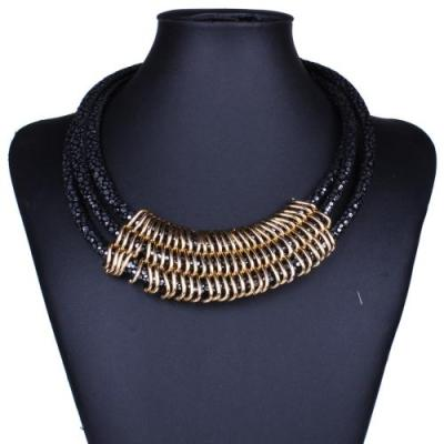 Three layer black and gold necklace