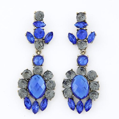Blue and grey gem chandelier earrings