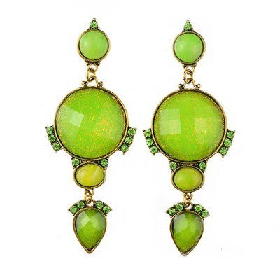 Deco style tiered earrings in lime green