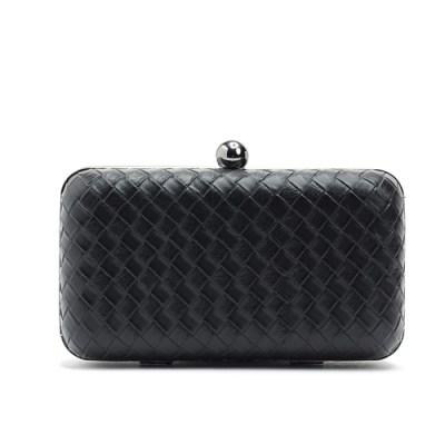 Black basket weave clutch purse