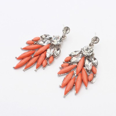 Ruili leaf style statement earrings with rhinestones in coral