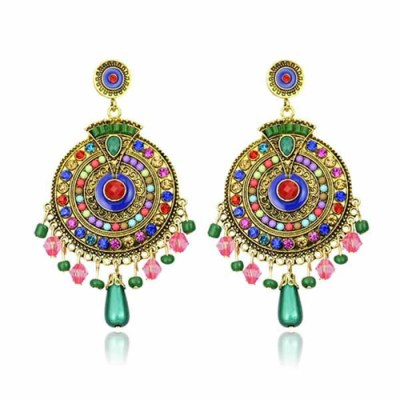 empayah exclusive antique gold and multicoloured gem earrings