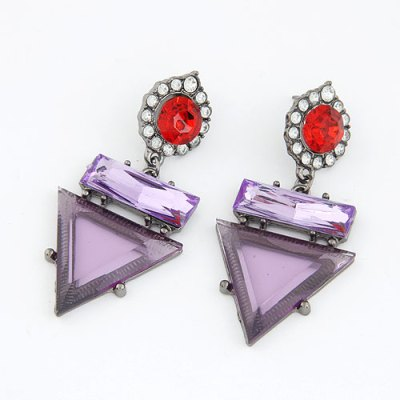 Purple and red statement earrings