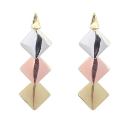 Brushed metal earrings in copper silver gold in geometric style