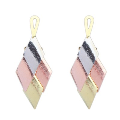 Oversized brushed metal chandelier earrings in gold, copper and silver