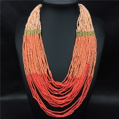Naja necklace in tri colours coral, watermelon red and apricot