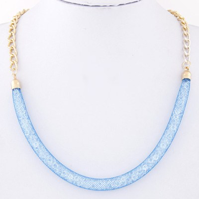 Bead filled mesh on gold chain in blue