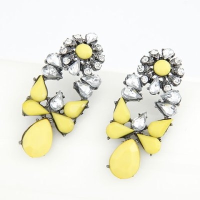 Kashi statement earrings with rhinestones set in gunmetal in yellow