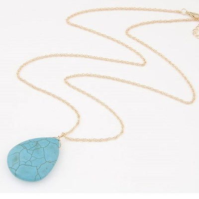 Teardrop stone pendant necklace in turquoise colour