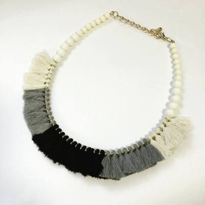 Abanu black, white and grey tassel choker necklace