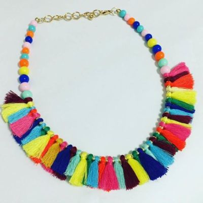 Abanu colourful tassel choker necklace