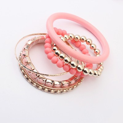 Pale pink bangle and bracelet set of 6