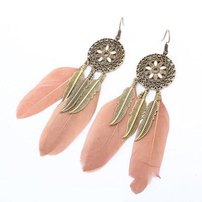 Bronze feathered earring tan