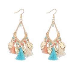 Pastel tassel leaf boho earring