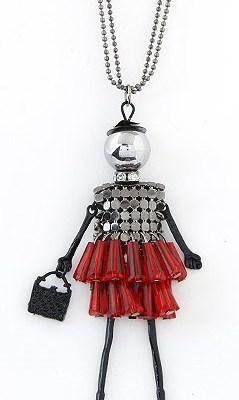 Dancing lady necklace red