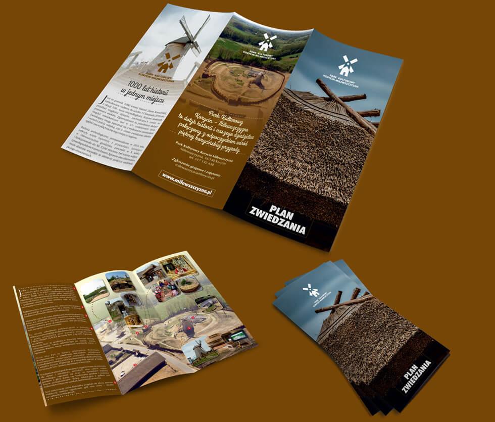 Park Kulturowy Korycin - Milewszczyzna Ulotka prezentująca plan zwiedzania Parku Kulturowego Korycin – Milewszczyzna. Zajęliśmy się wykonaniem zdjęć, ujęć z drona, projektem i wydrukiem.