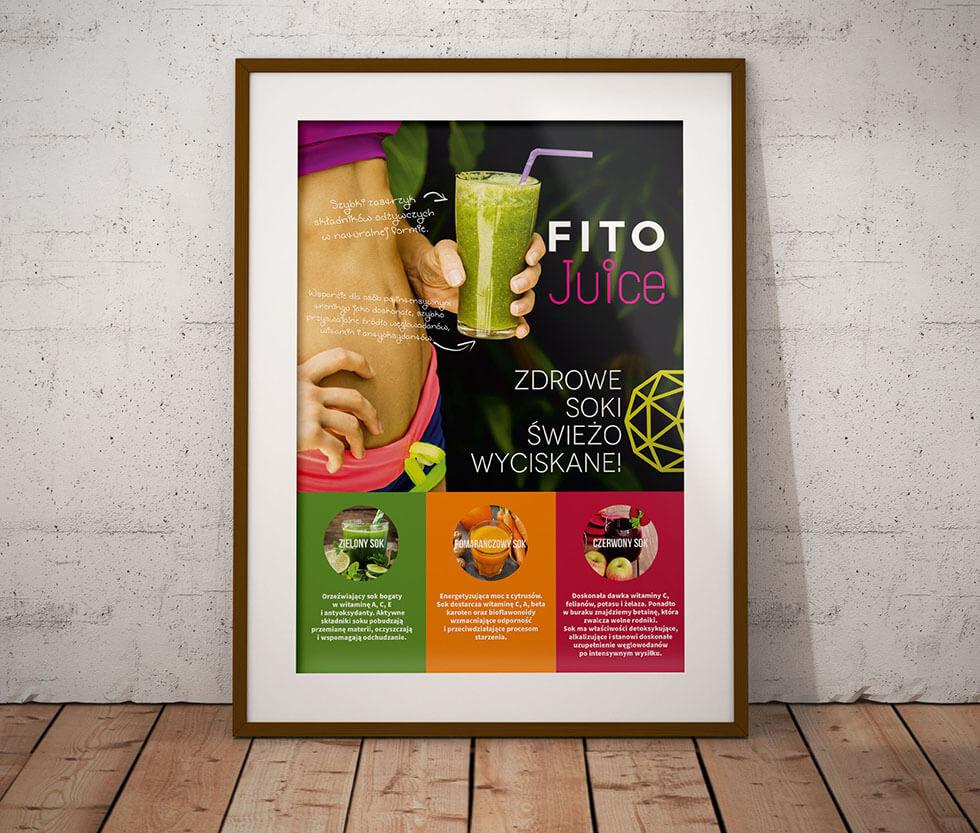 Fitosfera Projekt plakatu przygotowany dla Fitosfery i specjalnej serii soków wypuszczonej przez klub fitness.