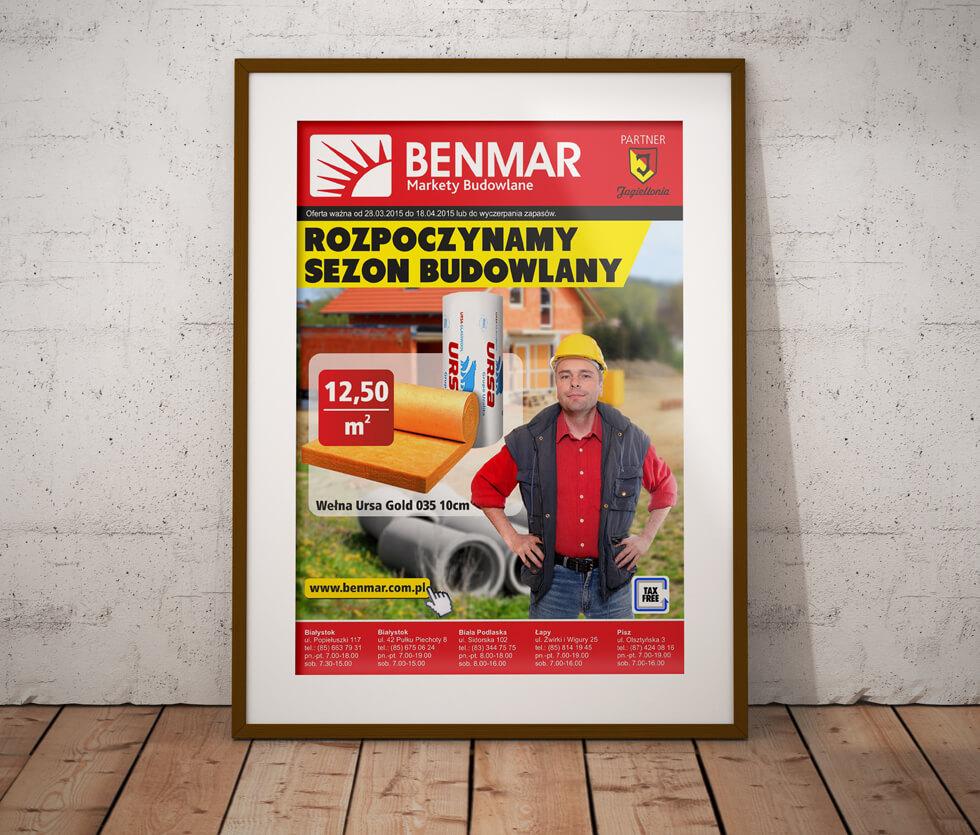 Markety Budowlane Benmar Projekt plakatu przygotowanego dla Marketów Budowlanych Benmar.