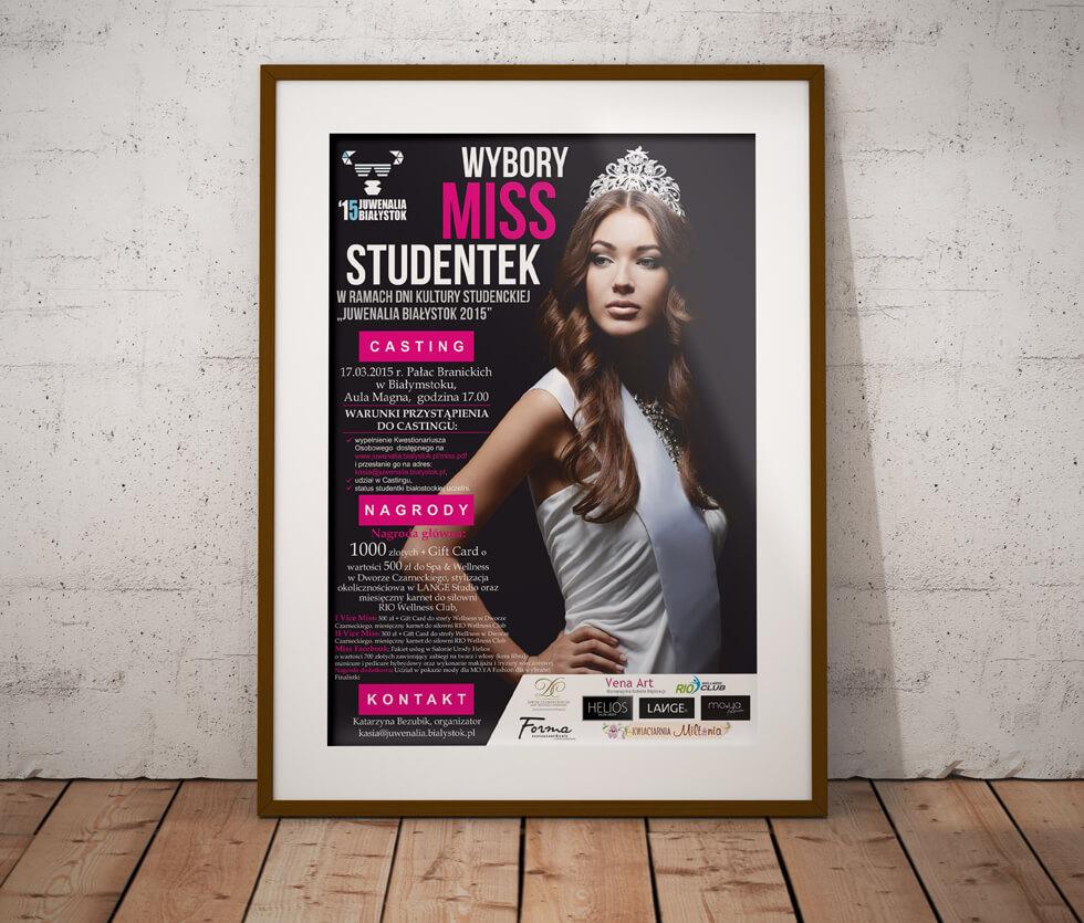 Juwnealia Białystok Plakat przygotowany na wybory miss studentek organizowane przy okazji juwenaliów białostockich.