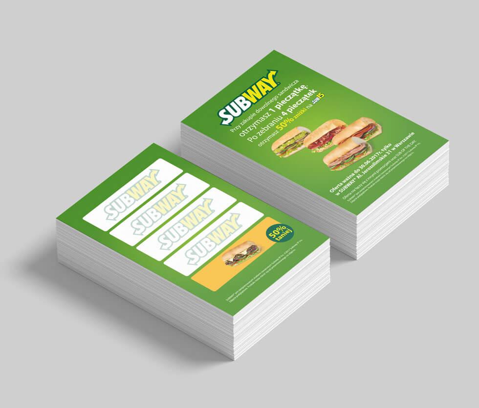 Subway Projekt kart lojalnościowych zaprojektowanych dla wielu restauracji w województwie Mazowieckim.