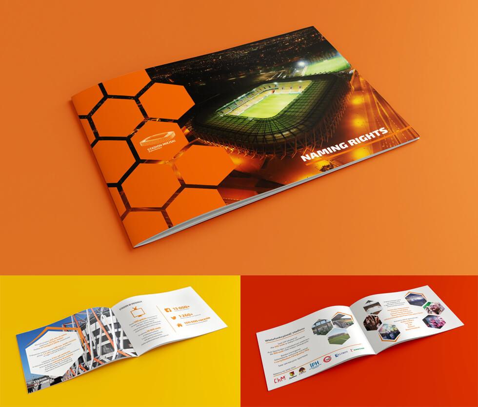 Stadion Miejski w Białymstoku Folder prezentujący korzyści z reklamy na Stadionie Miejskim w Białymstoku. Projekt i wykonanie po naszej stronie.