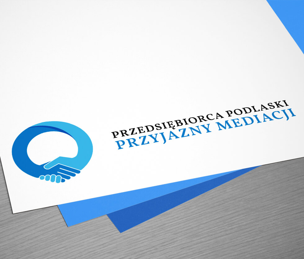 Przedsiębiorca Podlaski Przyjazny Mediacji Identyfikacja wizualna przygotowana z okazji konkursu dla przedsiębiorców organizowanego przez Izbę Przemysłowo – Handlową