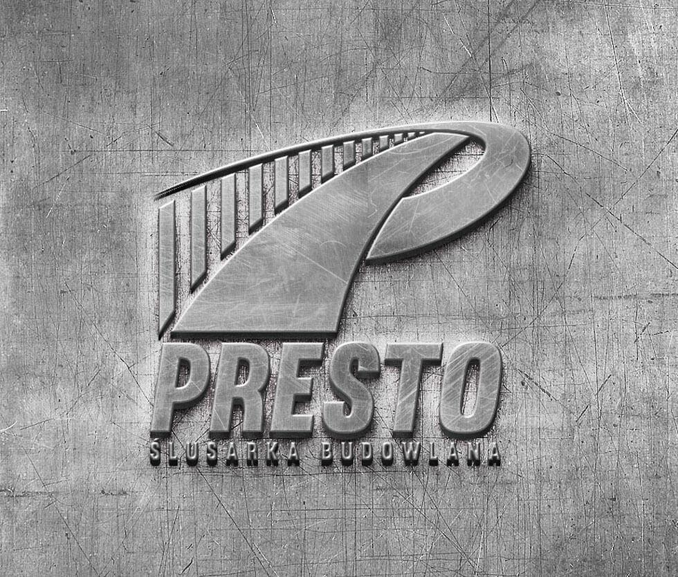 Presto Ślusarka Budowlana Logo przygotowane dla firmy Presto – Bis działającej w branży ślusarki budowlanej.
