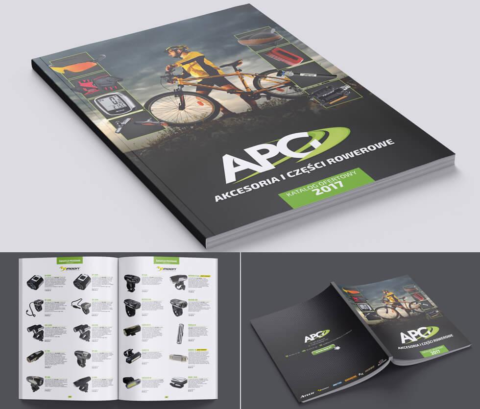 APG katalog 2017 APG to hurtownia akcesoriów rowerowych. Na potrzeby targów tworzyliśmy katalogi produktowe, ten prezentowany był 70-stronicowy. Projekt i druk po naszej stronie.