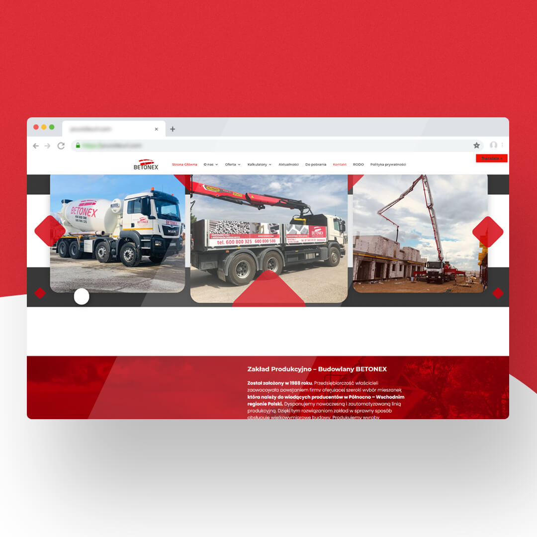 Grafika przedstawia zrzut ekranu przeglądarki internetowej. Widzimy stronę internetową betonex.eu