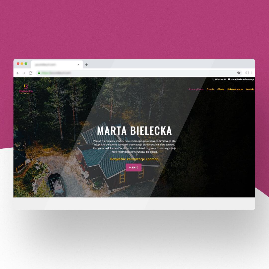Grafika przedstawia zrzut ekranu przeglądarki internetowej. Widzimy stronę internetową bielecka.pl
