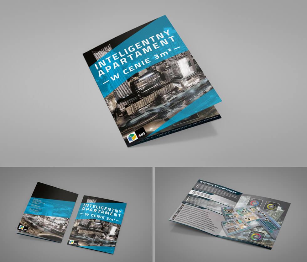 IHMS Folder reklamowy przygotowany dla firmy działającej w branży inteligentnych domów. Projektowany i drukowany przez nas.