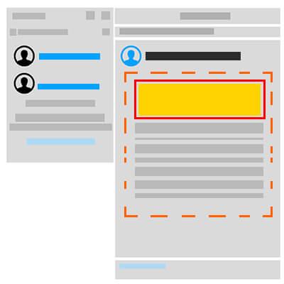 Grafika przedstawia schematyczny wygląd wyników wyszukiwania na Linkedin