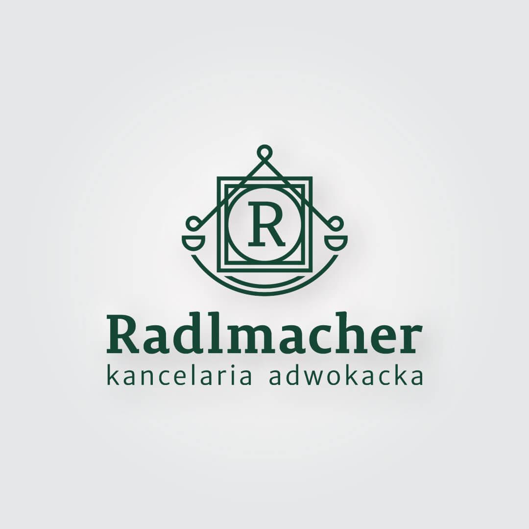 Radlmacher Kancelaria Adwokacka z tradycjami mieszcząca się w Białymstoku. Logo tworzone od zera, z nawiązaniem do rodowego nazwiska.