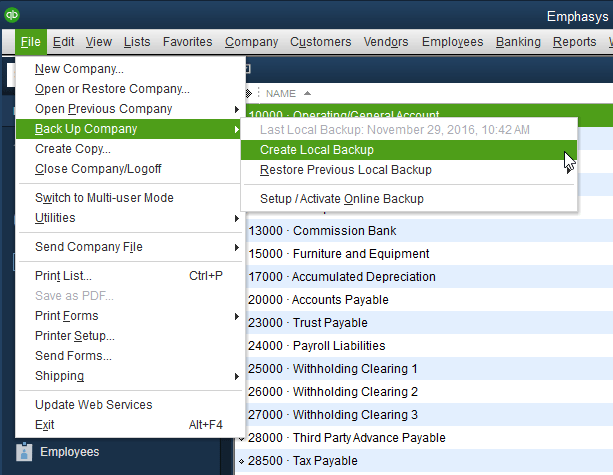 How to Create a Backup File in QuickBooks® Desktop