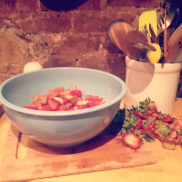 strawberries & rhubarb for my slab pie