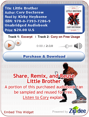A widget popularizing Cory Doctorow\'s recent book, Little Brother.