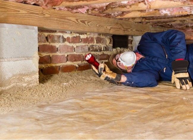 Hausinspektor, der unter Haus schaut