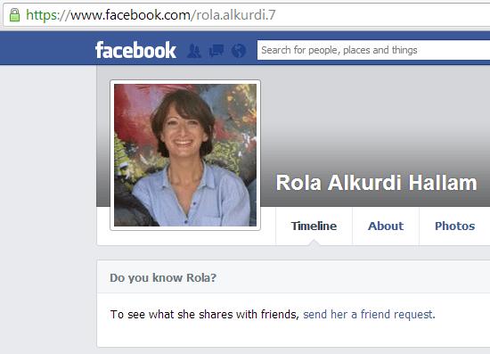 Dr. Rola Hallam's Facebook profile.