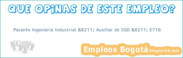 Pasante Ingenieria Industrial &8211; Auxiliar de SGD &8211; E716