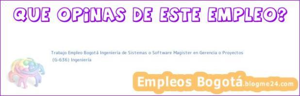 Trabajo Empleo Bogotá Ingenieria de Sistemas o Software Magister en Gerencia o Proyectos | (G-636) Ingeniería