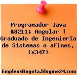 Programador Java &8211; Angular | Graduado de Ingeniería de Sistemas o afines. (X347)